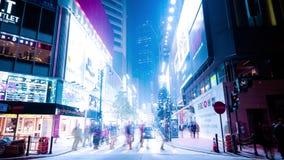 Взгляд ночи города Гонконга Промежуток времени видеоматериал