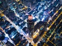 Взгляд ночи города Гонконга Стоковые Изображения