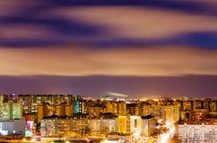 Взгляд ночи города от высоты Стоковая Фотография RF