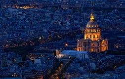 Взгляд ночи города. Париж Стоковые Изображения