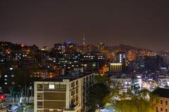 Взгляд ночи города Сеула Стоковое Изображение