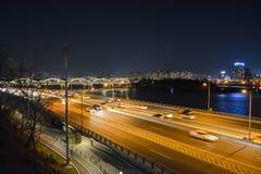 Взгляд ночи города Сеула Стоковое Фото