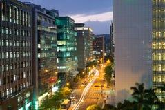 Взгляд ночи города Тайбэя, Тайвани Стоковое фото RF