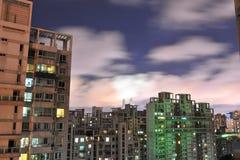Взгляд ночи городского ландшафта Стоковые Фотографии RF