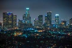 Взгляд ночи городского Лос-Анджелеса, Калифорнии Соединенных Штатов Стоковое фото RF