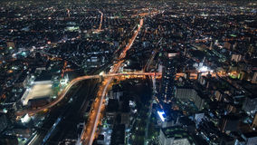 Взгляд ночи городского пейзажа Осака Стоковое фото RF