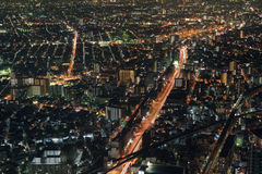 Взгляд ночи городского пейзажа Осака Стоковые Фото
