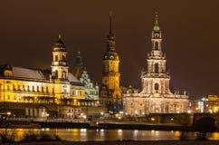 Взгляд ночи Дрездена Стоковые Изображения RF