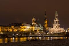 Взгляд ночи Дрездена Стоковое фото RF