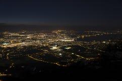 Взгляд ночи Женевы от держателя Saleve Стоковая Фотография RF