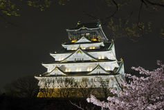 Взгляд ночи замка Осака Стоковая Фотография