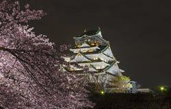 Взгляд ночи замка Осака Стоковые Изображения