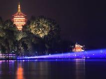 Взгляд ночи западного озера красивый Стоковые Изображения RF