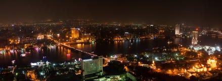 Взгляд ночи Каира от башни Каира Стоковая Фотография RF