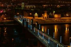 Взгляд ночи Каунаса воздушный, мост Aleksotas, Литва Стоковое Изображение RF