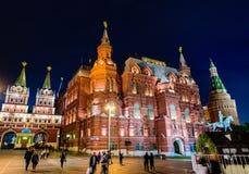 Взгляд ночи квадрата в Москве стоковое фото rf