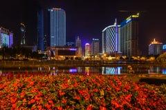 Взгляд ночи квадрата Tianfu в Чэнду стоковое изображение rf