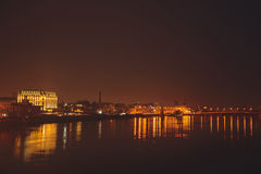 Взгляд ночи Киева на речном порте Стоковые Изображения RF