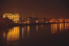 Взгляд ночи Киева на речном порте Стоковое Фото