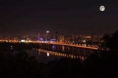 Взгляд ночи Киева Стоковое фото RF