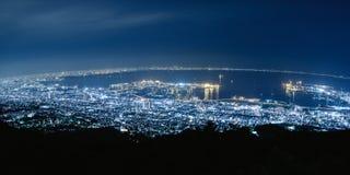 Взгляд ночи Кобе от Mt Майя Mayayama в Кобе, Японии 3 главных взгляда Японии - 10 миллионов взгляд ночи ночи доллара Стоковое Фото
