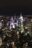 Взгляд ночи Манхаттана от Эмпайра Стейта Билдинга - Нью-Йорка Стоковая Фотография