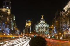 Взгляд ночи Мадрида в рождестве Стоковые Изображения RF