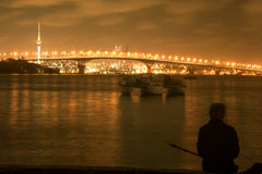 Взгляд ночи моста гавани Окленда Стоковые Фото