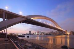Взгляд ночи моста Шанхая Lupu стоковые фотографии rf