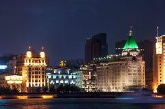 Взгляд ночи на бунде в Шанхае Стоковая Фотография