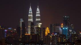 Взгляд ночи над городским Куалаом-Лумпур Стоковое Изображение RF