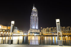 Взгляд ночи на моле Дубай Стоковые Изображения