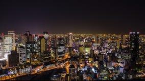 Взгляд ночи на Осака Японии, на верхней части здания неба Umeda Стоковое Изображение