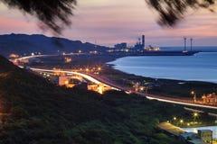 Взгляд ночи на пляже в Тайване Стоковое фото RF