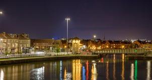 Взгляд ночи над тазом Бристолем a Камберленда Стоковое Изображение