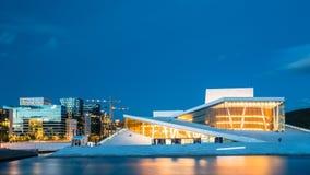 Взгляд ночи оперного театра Осло дом  Стоковые Фотографии RF