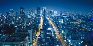 Взгляд ночи Осака от террасы замечания здания ORIX Honmachi в палате Nishi, Осака, Японии Стоковые Изображения RF