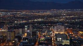 Взгляд ночи от башни стратосферы в Лас-Вегас, Неваде Стоковые Изображения RF