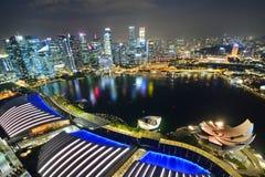 Взгляд ночи от залива Марины зашкурит skypark Сингапур Стоковое Изображение