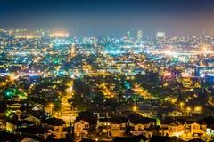 Взгляд ночи от парка вершины холма, в холме сигнала Стоковая Фотография RF