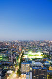 Взгляд ночи панорамного современного глаза птицы горизонта города воздушный под драматическим неоновым заревом и красивое синее н Стоковая Фотография RF
