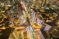 Взгляд ночи пересечения города вида с воздуха городской Стоковая Фотография
