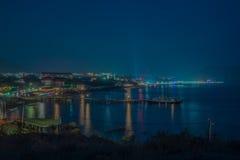 Взгляд ночи портового района Стоковое фото RF