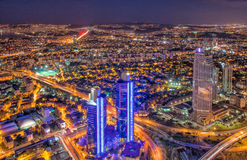 Взгляд ночи современного Стамбула Стоковое фото RF