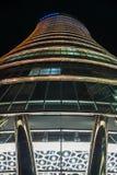 Взгляд ночи современной архитектуры Варшавы стоковое фото rf