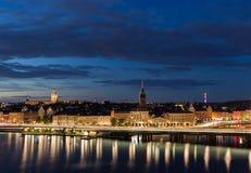 Взгляд ночи Стокгольма Швеция 31 07 2016 стоковое фото