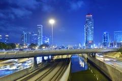 Взгляд ночи Тель-Авив, Израиля Стоковые Фото