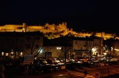 Взгляд ночи укрепленного города Каркассона Стоковое Изображение
