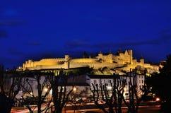 Взгляд ночи укрепленного города Каркассона Стоковые Изображения