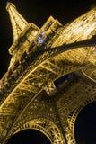 Взгляд ночи Эйфелева башни в Париже 9-ого сентября 2016 в Франции Стоковая Фотография RF